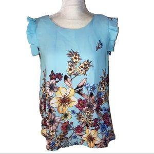 Sweet Rain Floral Blue Chiffon Top L